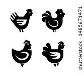 set of hen  chicken logo. icon... | Shutterstock .eps vector #1485671471