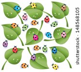 leaves and ladybugs | Shutterstock .eps vector #148568105