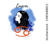 cancer zodiac signs girl... | Shutterstock .eps vector #1485688811