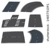 vector set of road cartoon | Shutterstock .eps vector #1485751091