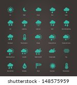 Weather icons. Additional part. Vector illustration.