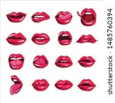 hot red lips sexy and sensual... | Shutterstock .eps vector #1485760394