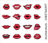 hot red lips sexy and sensual... | Shutterstock .eps vector #1485760397