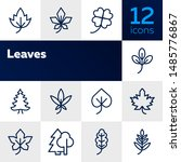 leaves icon. set of line icons... | Shutterstock .eps vector #1485776867