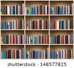 books on a wooden shelfs.  | Shutterstock . vector #148577825
