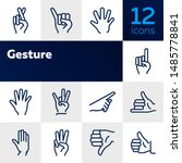 gesture icon. set of line icons ... | Shutterstock .eps vector #1485778841