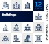 buildings line icon set. bank ... | Shutterstock .eps vector #1485781907