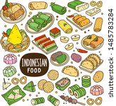 indonesian foods and snack... | Shutterstock .eps vector #1485783284