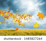fantasy landscape with red and... | Shutterstock . vector #1485827264