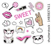 fashion patch badges with girl... | Shutterstock .eps vector #1485837611