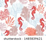 beautiful hand drawn botanical... | Shutterstock .eps vector #1485839621