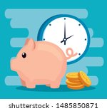 piggy to save money with coins... | Shutterstock .eps vector #1485850871
