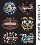 motorcycle themed badge vectors | Shutterstock .eps vector #148585145