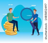young men with coins dollars... | Shutterstock .eps vector #1485852497