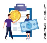 young men with checklist... | Shutterstock .eps vector #1485863894