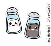 salt and pepper shaker set with ... | Shutterstock .eps vector #1485913634