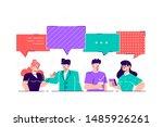 businessmen discuss social... | Shutterstock .eps vector #1485926261