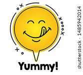 tasty smile emoticon with... | Shutterstock .eps vector #1485942014