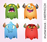 Stock vector cartoon monsters set for halloween vector set of cartoon monsters isolated design for print 1485943124