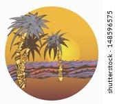 landscape  sea  palm tree ...   Shutterstock .eps vector #148596575