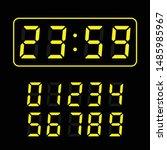 set of yellow led digital clock ...