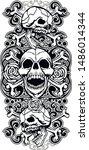 vintage skull and bones tattoo... | Shutterstock .eps vector #1486014344