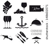 Set of 9 black icons on white background gastronomic theme