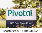 Small photo of August 5, 2019 Palo Alto / CA / USA - Pivotal logo at the entrance to their campus; Pivotal Software, Inc. is an American multinational software and services company and will be acquired by VMware