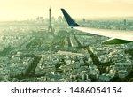 Plane Flies Above Paris  Franc...