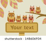 owls with a sign | Shutterstock .eps vector #148606934