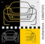 vector car design drawing line black white yellow