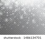 realistic falling snowflakes... | Shutterstock .eps vector #1486134701