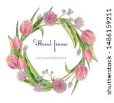 color pencils circle frame with ... | Shutterstock . vector #1486159211