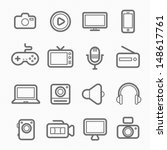 device and multimedia symbol... | Shutterstock .eps vector #148617761