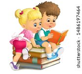 Illustration. Children Sit On A ...