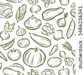 vegetables seamless background  ... | Shutterstock .eps vector #1486236341