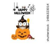 happy halloween cute owl in hat.... | Shutterstock .eps vector #1486323014