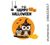 happy halloween cute owl in hat.... | Shutterstock .eps vector #1486323017