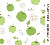 green apple pattern seamless... | Shutterstock .eps vector #1486338401
