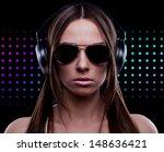 young dj woman enjoying the... | Shutterstock . vector #148636421