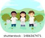 illustration of stickman teens... | Shutterstock .eps vector #1486367471