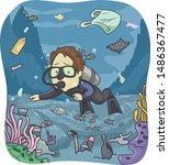 illustration of a man in scuba... | Shutterstock .eps vector #1486367477
