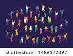 party people. large group of... | Shutterstock .eps vector #1486372397