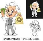 happy old man professor with... | Shutterstock .eps vector #1486373801