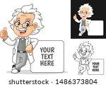 happy old man professor with... | Shutterstock .eps vector #1486373804