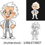 happy old man professor with... | Shutterstock .eps vector #1486373807