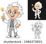 thinking old man professor with ... | Shutterstock .eps vector #1486373831