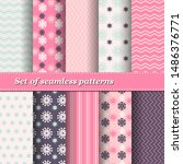 set of trendy seamless floral... | Shutterstock .eps vector #1486376771