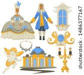 fashion history rococo style ... | Shutterstock .eps vector #1486377167