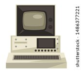 70s technologies  old computer  ... | Shutterstock .eps vector #1486377221